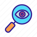 cipher, eye, glass, looking, magnifying icon