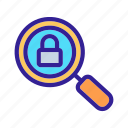 cipher, close, glass, lock, magnifying icon