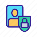 cipher, data, lock, personal, shield icon