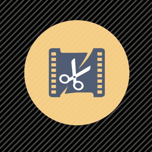 circle, cut, edit, video edit icon