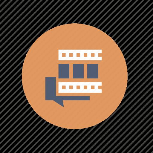 comment, discussion, film, movie, talk, video icon