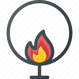 burning, circle, circus, jumping icon