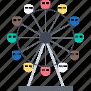 amusement park, big wheel, entertainment, fair, ferris wheel, funfair icon
