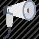 loud hailer, loudspeaker, megaphone, bullhorn, speaking trumpet