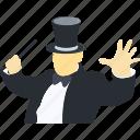elegant, gentleman, magician, people, professions icon
