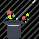 magic, magic wand, magician, magician hat, wand icon