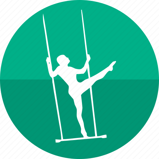 aerial act, circus performer, gym, gymnastic, kick, show, trapeze icon