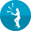 bike, circus, game, juggler, juggling, performer, show icon