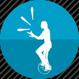 bike, circus, game, juggler, juggling, performer, show icon