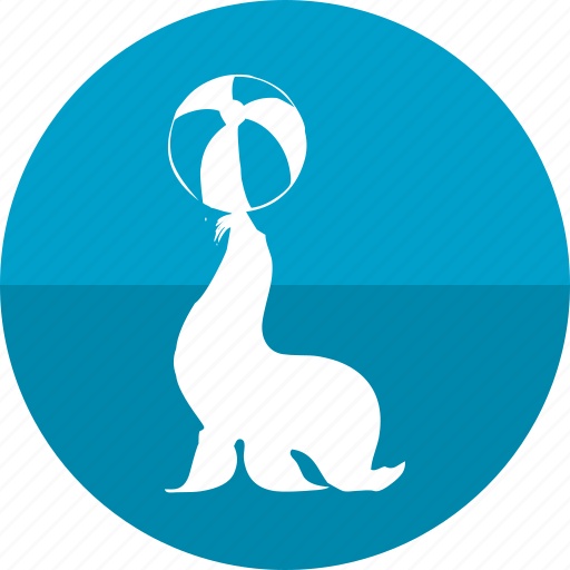 aqua, ball, circus, park, planet, seal, seal show icon
