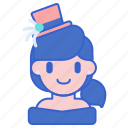 assistant, circus, girl, hat, woman