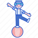act, balancing, ball, clown icon