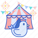 animals, chicken, county, fair, tent icon