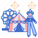 amusement, carnival, clown, festival, fun, park icon