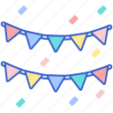 decoration, flags, garlands, lines