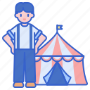 circus, giants, performer, tent icon
