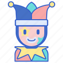 buffoon, clown, hat, jester, joker icon