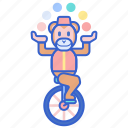 balance, balls, circus, juggling, monkey, unicycle