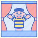 carnival, kids, puppet, show icon