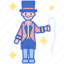 act, carnival, circus, ringmaster, whip icon