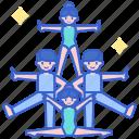 acrobats, balance, familly, troupe icon