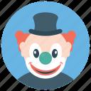 circus joker, clown character, gordoon clown, joker, producing clown icon