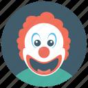 circus joker, happy clown, joker, tramp clown, whiteface icon