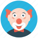 circus joker, crazy clown, funny clown, joker, walkaround clown icon