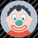 auguste clown, circus clown, circus joker, joker, tramp clown icon