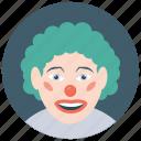 auguste clown, circus joker, hobo clown, joker, tramp clown icon