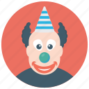 auguste clown, circus joker, happy clown, happy tramp, tramp clown icon