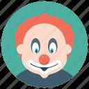 auguste clown, circus joker, clown face, hobo clown, tramp clown icon