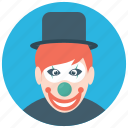 auguste clown, circus joker, happy clown, happy tramp, tramp clown icon