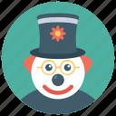 auguste clown, auguste joker, circus joker, joker, white face clown icon