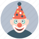 birthday clown, character clown, circus joker, happy tramp, party clown icon