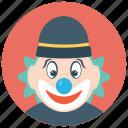auguste clown, circus joker, clown character, funny joker, tramp clown icon