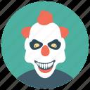 circus joker, halloween clown, joker, scary clown, whiteface clown icon