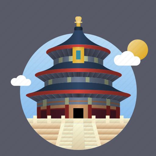 beijing, china, city, landmark icon