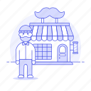 1, barber, building, city, customer, haircut, hairdressing, male, moustache, pole, services, shop icon
