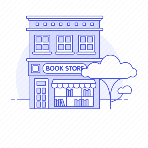 book, bookshop, bookstore, building, city, library, notebook, paper, retail, shop, stationery, store icon