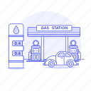 car, city, fill, fuel, gas, gasoline, midway, petrol, pump, station, tank, town, up, vehicle icon