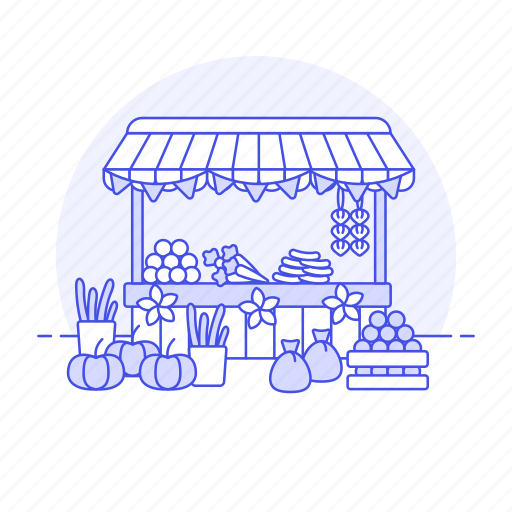 building, city, commerce, farmer, food, fruits, grocery, market, produce, retail, stand, vegetables icon