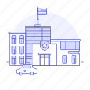 1, building, car, cell, city, holding, officer, patrol, police, star, station, street icon