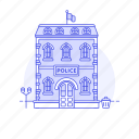 2, building, cell, city, holding, officer, police, station, street, town icon