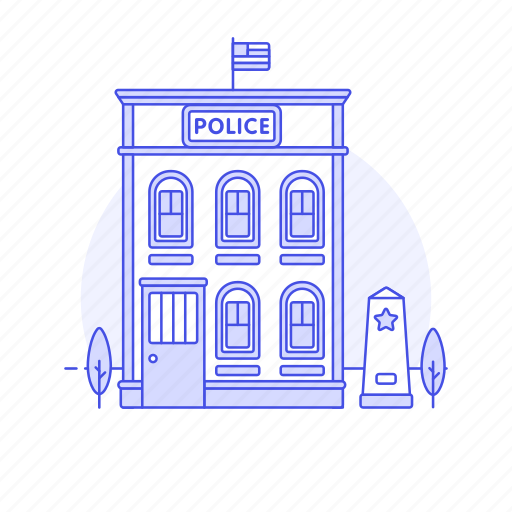 3, building, cell, city, holding, officer, police, station, street, town icon