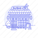 bar, building, chopsticks, city, cuisine, drinks, food, japanese, nigiri, restaurant, roll, sushi icon