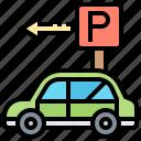 car, direction, lot, park, traffic icon