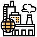 economic, factory, industrial, pollution, production icon