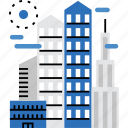 architecture, building, business, city, line, skyscraper, urban icon