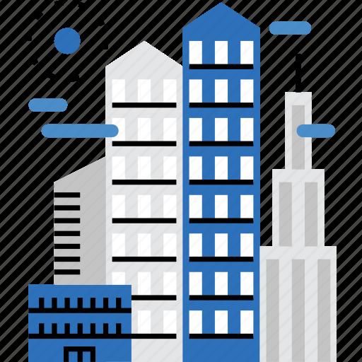 architecture, building, business, city, line, skyscraper, urban icon